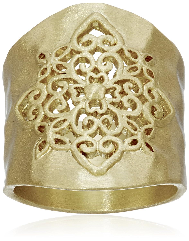 Gold-Tone Filigree Hammered Ring Athra NJ Inc. C5019V-6-Parent