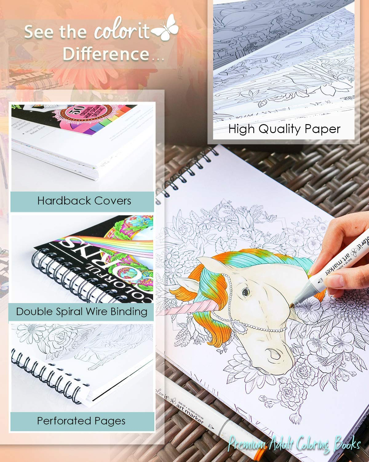 ColorIt Colorful Unicorns Adult Coloring Book - 50 Single-Sided Pages, Thick Smooth Paper, Lay Flat Hardback Covers… 4