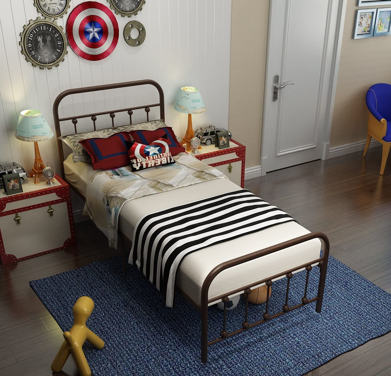 TEMMER Reinforced Metal Bed Frame Twin Size with Headboard and Stable Metal Slats Boxspring Replacement Footboard Single Platform Mattress Base,Metal Tube and Antique Brown Baking Paint.