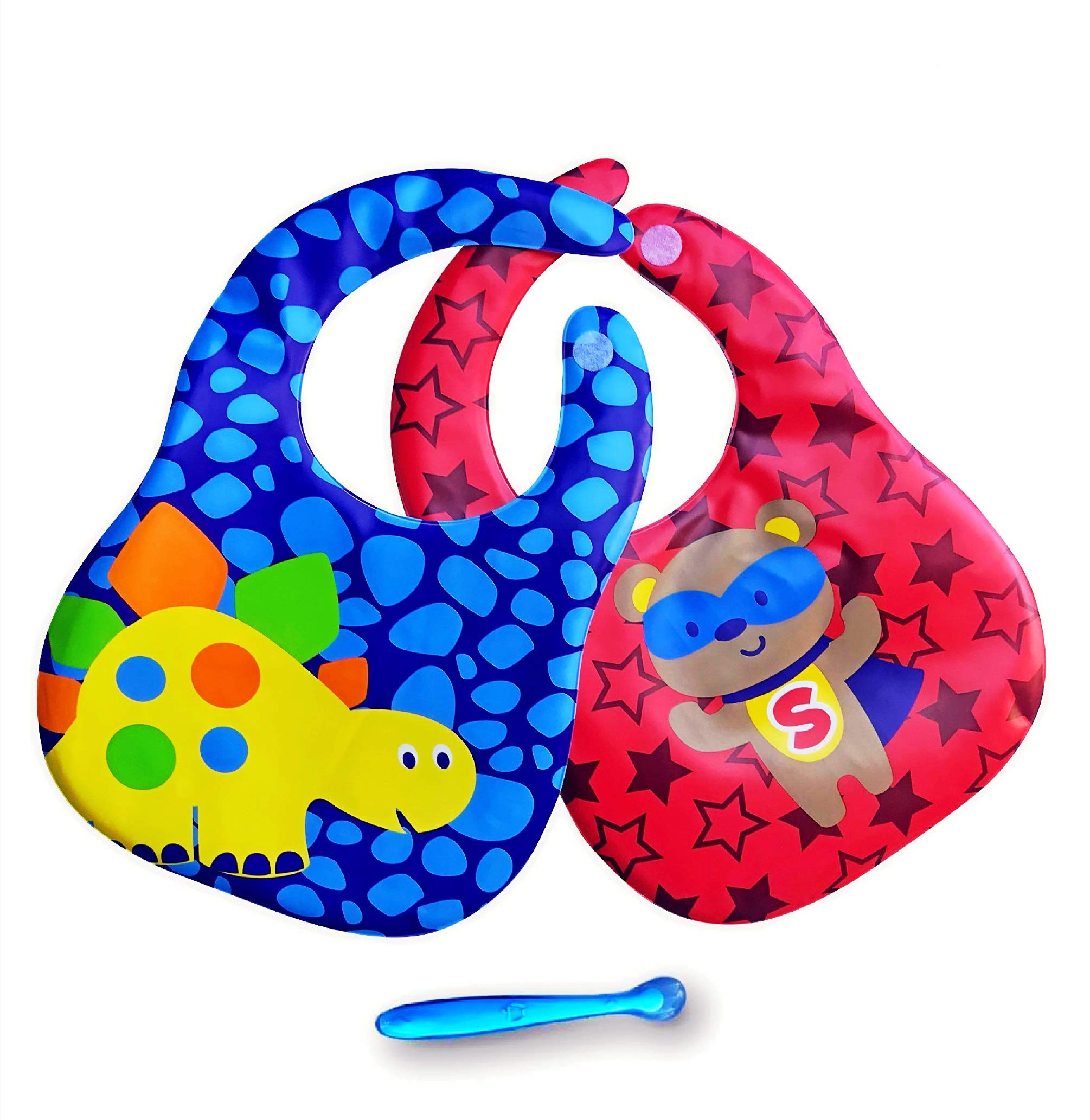 Waterproof Baby Bibs for Boy! Easily Wipes Clean! 2 Pack Two Colors Set (Blue and red)! Comfortable to use! with Bag Trap for Waste Collection! Cute Baby Spoon Included!!
