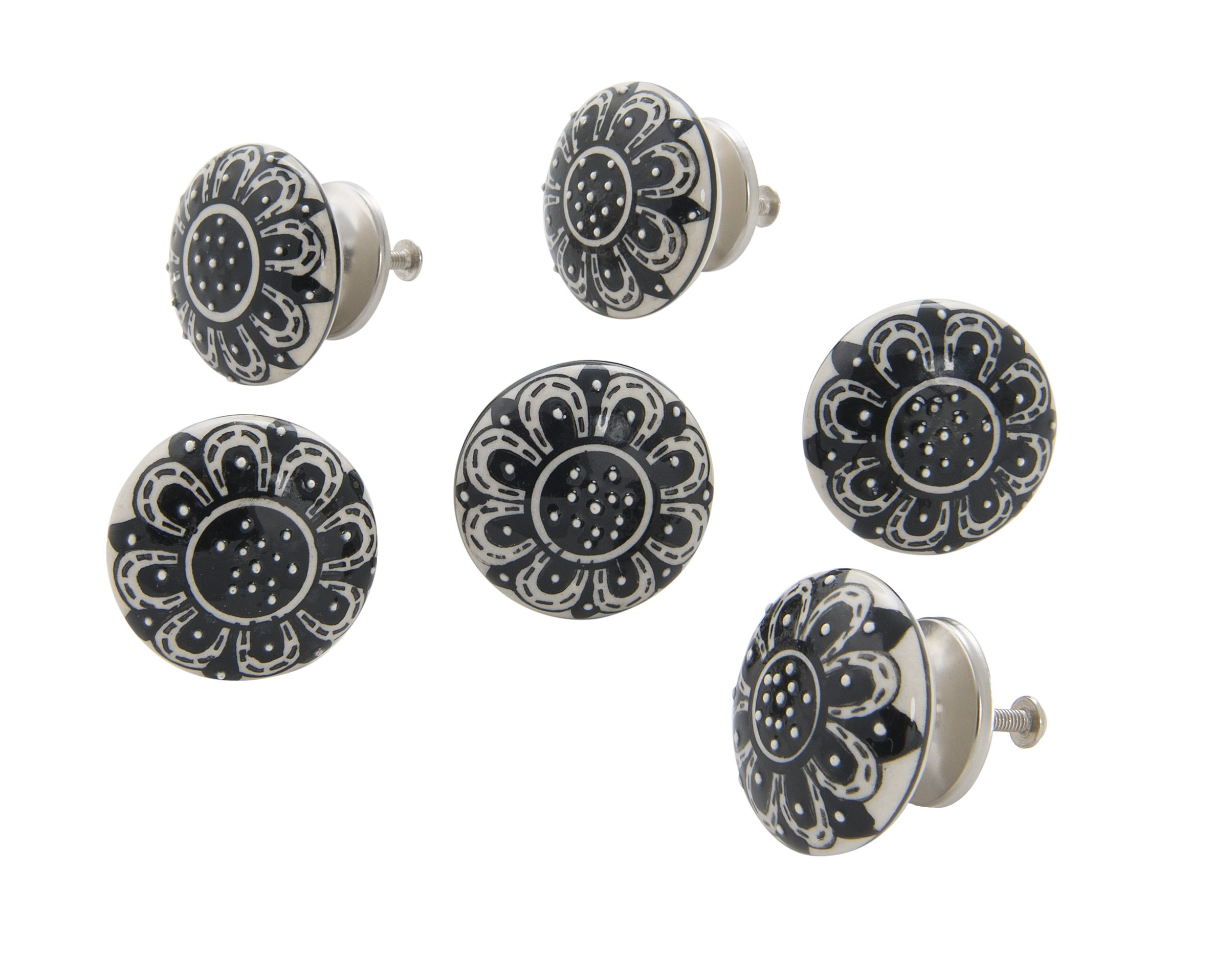 Dritz Home 47071A Ceramic Hand Painted Disk Knob Handcrafted Knobs for Cabinets & Drawers