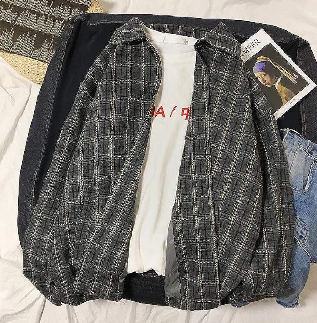 Hajotrawa Mens Loose Classic Plaid Long Sleeve Top Button Down Shirts