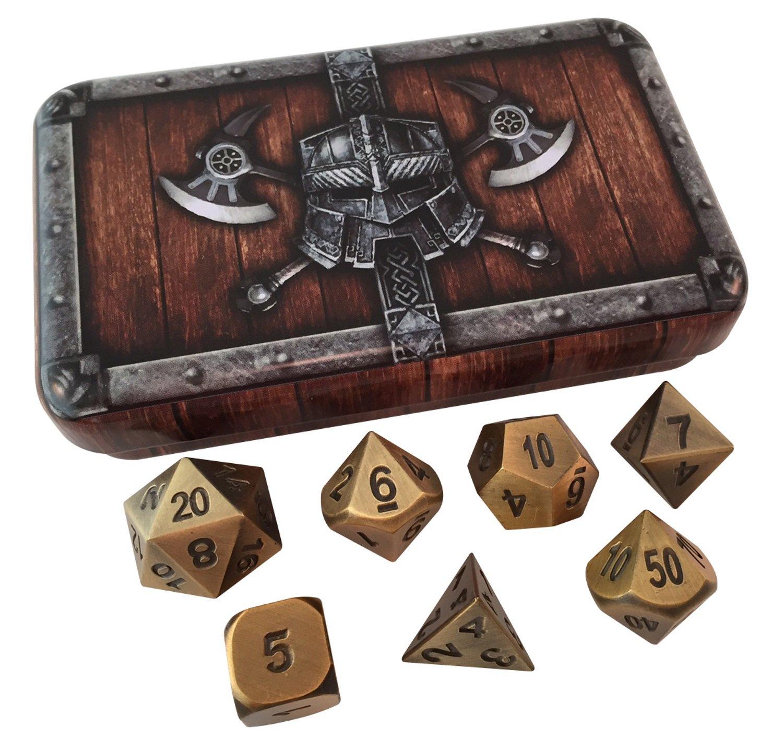 【お買得】 スカルスプリッタdice-アンティークゴールドcolor-ソリッドメタルPolyhedral Role )ダイスセット( Playing Game ( RPG )ダイスセット( 7 RPG Die withボックス inパック) withボックス B01N4X7Q9X, 豊岡市:c8072ee9 --- arianechie.dominiotemporario.com