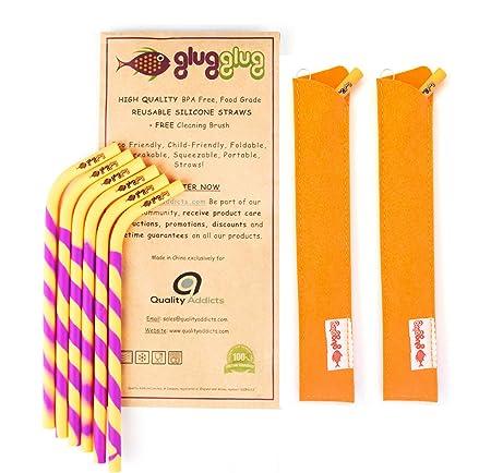 glugglug PREMIUM Reusable Silicone Straws BPA Free Standard Width Complete  Bundle: 6 Straws + 2 Brushes + 2 Sleeves +FREE JUICING eBook! Durable Safe