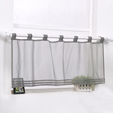 Scheibengardine Bistrogardine Modern Transparent Vorhang Kurzstore mit  Schlaufen Grau HxB 45x90cm