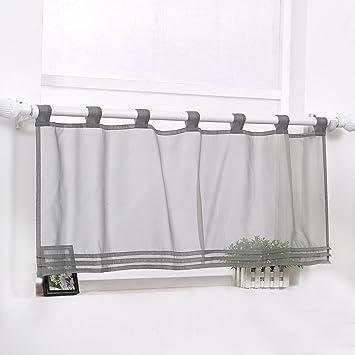 Scheibengardine Bistrogardine Modern Transparent Vorhang Kurzstore mit  Schlaufen Grau HxB 45x120cm