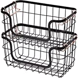 AmazonBasics Stackable Metal Storage Baskets for Kitchen or Bathroom