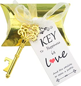 Aokbean 50 Sets Skeleton Key Bottle Openers Wedding Party Favors Souvenir Pillow Candy Box Vintage Escort Gift Card and Ribbon(Gold)