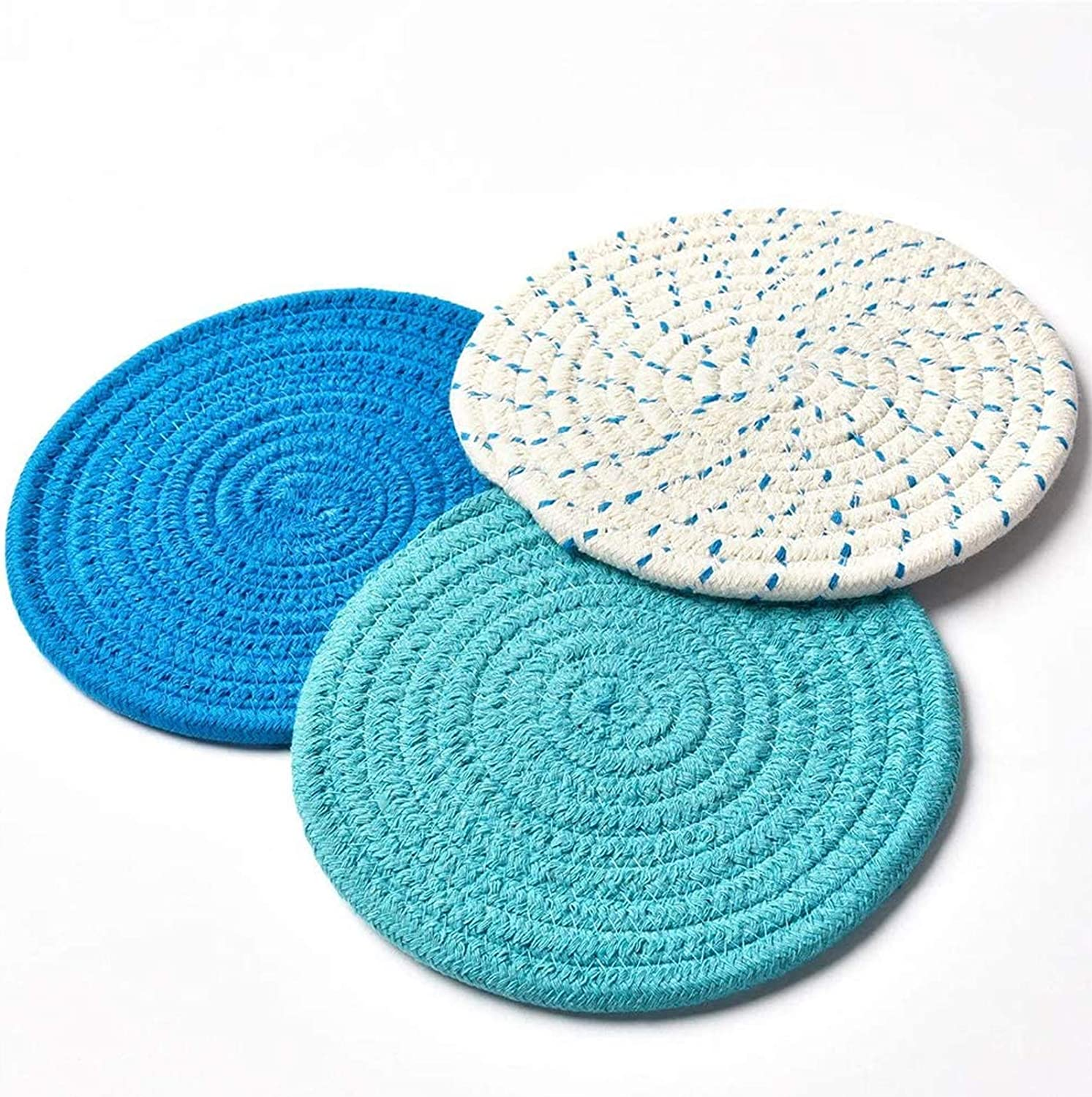 Cosywell Kitchen Pot Holders Set (Set of 3) Hot Pads Cotton Trivet Mats for Hot Pots Pans Holders Spoon Rest for Cooking