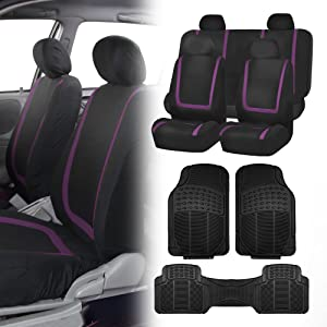 FH Group FB032114 Unique Flat Cloth Seat Covers (Purple) + Trimmable Vinyl Car Floor Mats (Black) Full Set - Universal Fit for Cars, Trucks & SUVs