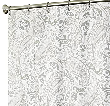 Extra Long Shower Curtain Paisley Fabric Curtains 84 Inch Gray