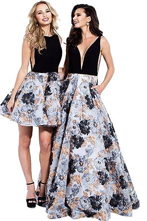 Jovani Prom 2018 Dress Evening Gown Authentic 55512 Long Black/Multi - Multi -