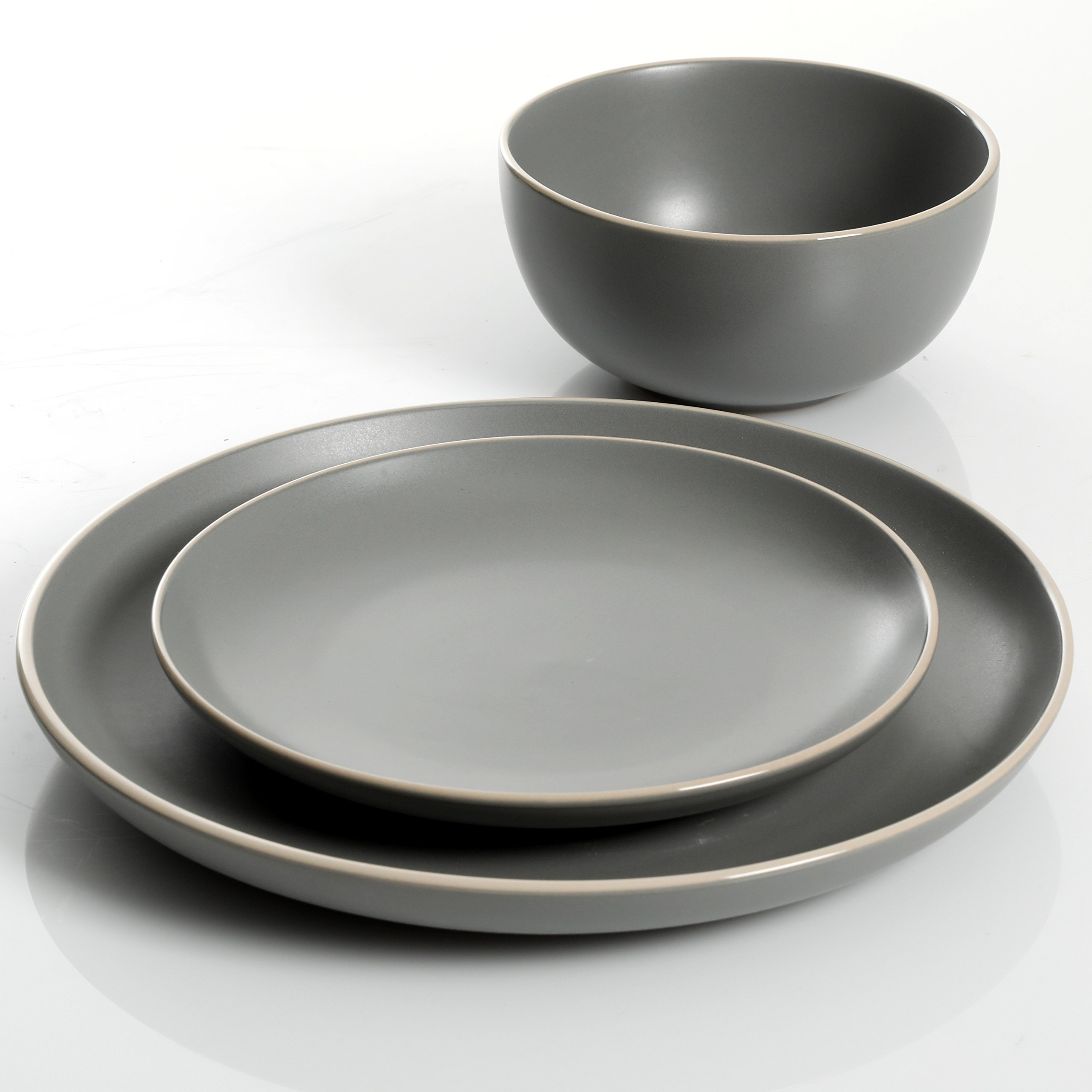 Gibson Home 114388.12RM Rockaway 12-Piece Dinnerware Set Service for 4, Grey Matte by Gibson Home (Image #3)