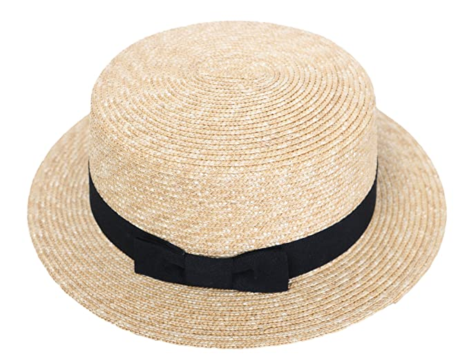 7b94436da7e RIONA Women s Natural Straw Boater Hat Flat Top Summer Beach Sun Hat UPF 50+