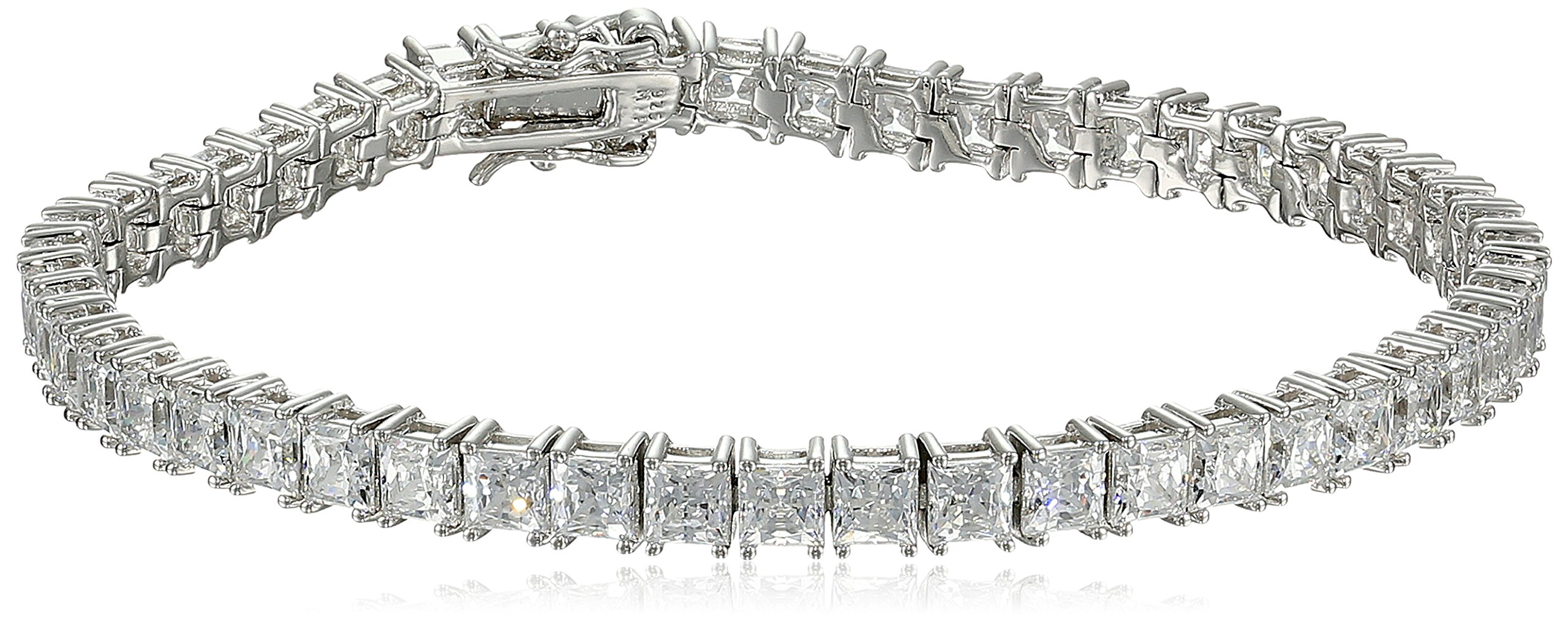 Myia Passiello Timeless Platinum-Plated Sterling Silver and Swarovski Zirconia Tennis Bracelet, 7.25''