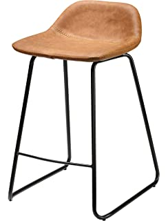 Cortesi Home CH CS624959 Ava Counterstool Saddle Brown Faux Leather, 25