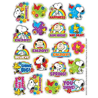 Eureka Peanuts Spring Stickers, Theme (655057): Office Products