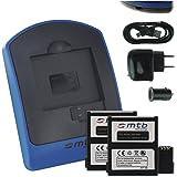 2x Batterie + Chargeur (USB/Auto/Secteur) pour Rollei 6S WiFi, 7S WiFi Actioncam Bullet [3.7V - 1450mAh - Infochip]