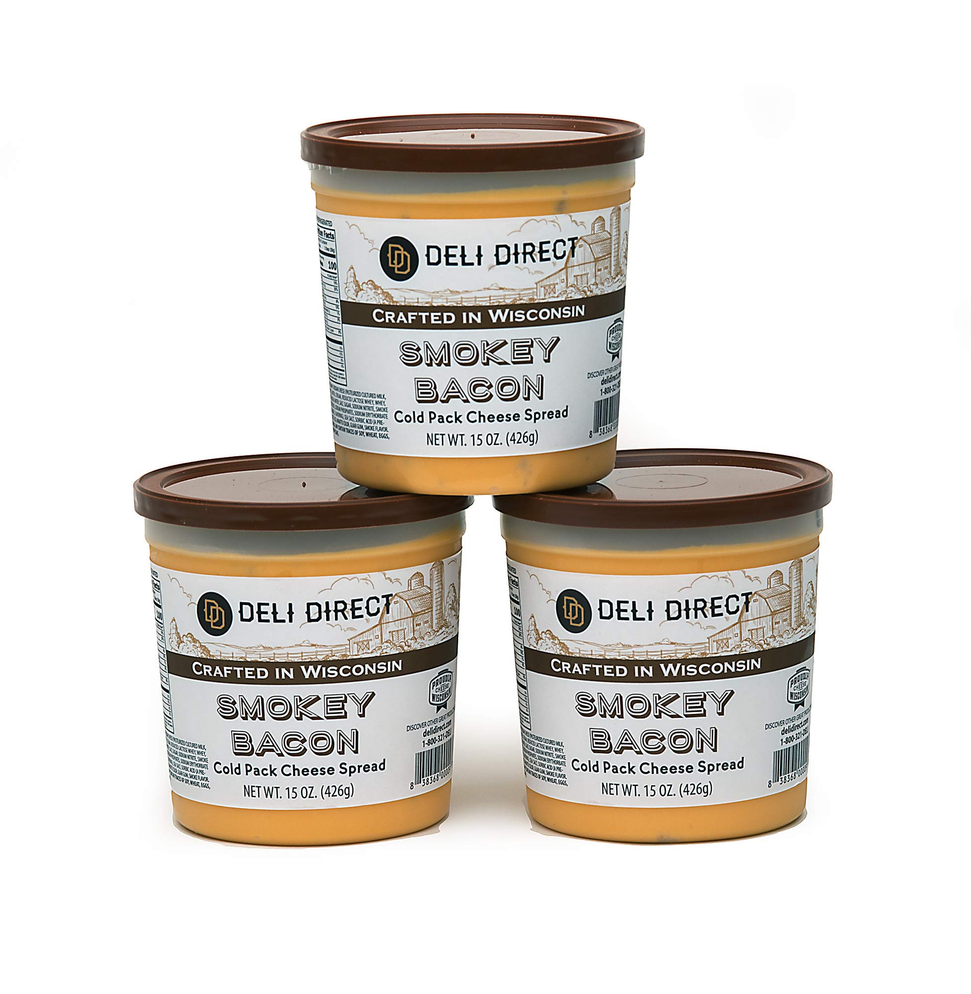 Wisconsin Cheese Spread - Smokey Bacon (3 Pack of 15oz. Each Containers) by Deli Direct