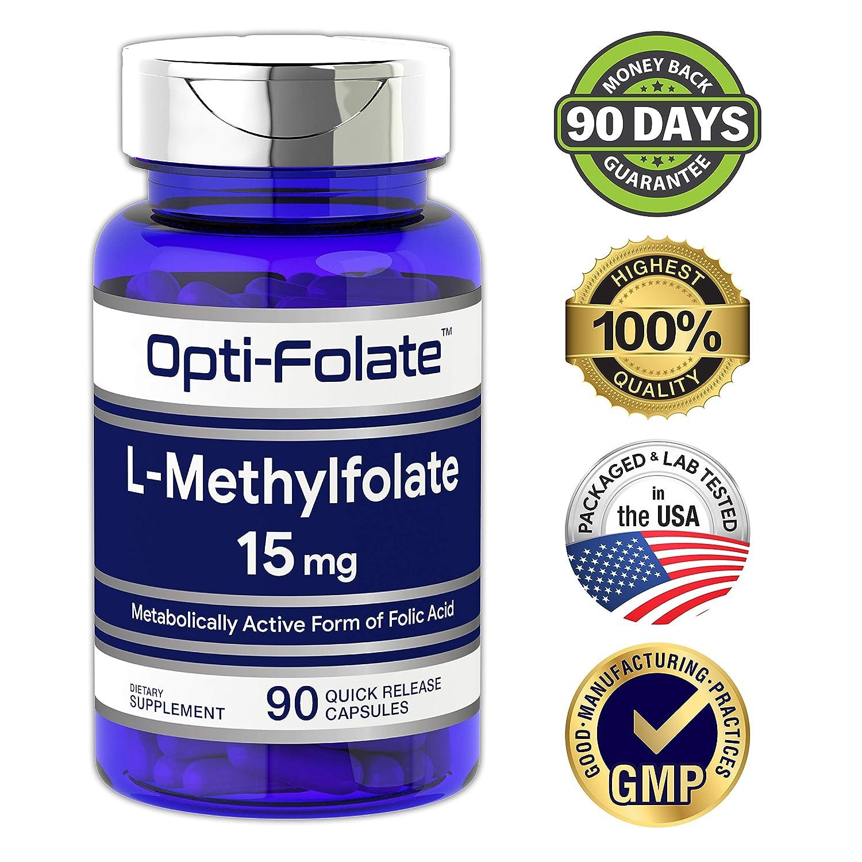 Amazon.com: Opti-Folate L-Methylfolate 15 mg (90 Capsules) | Optimized and Activated | Max Potency | Non-GMO, Gluten Free | Methyl Folate, 5-MTHF: Health ...