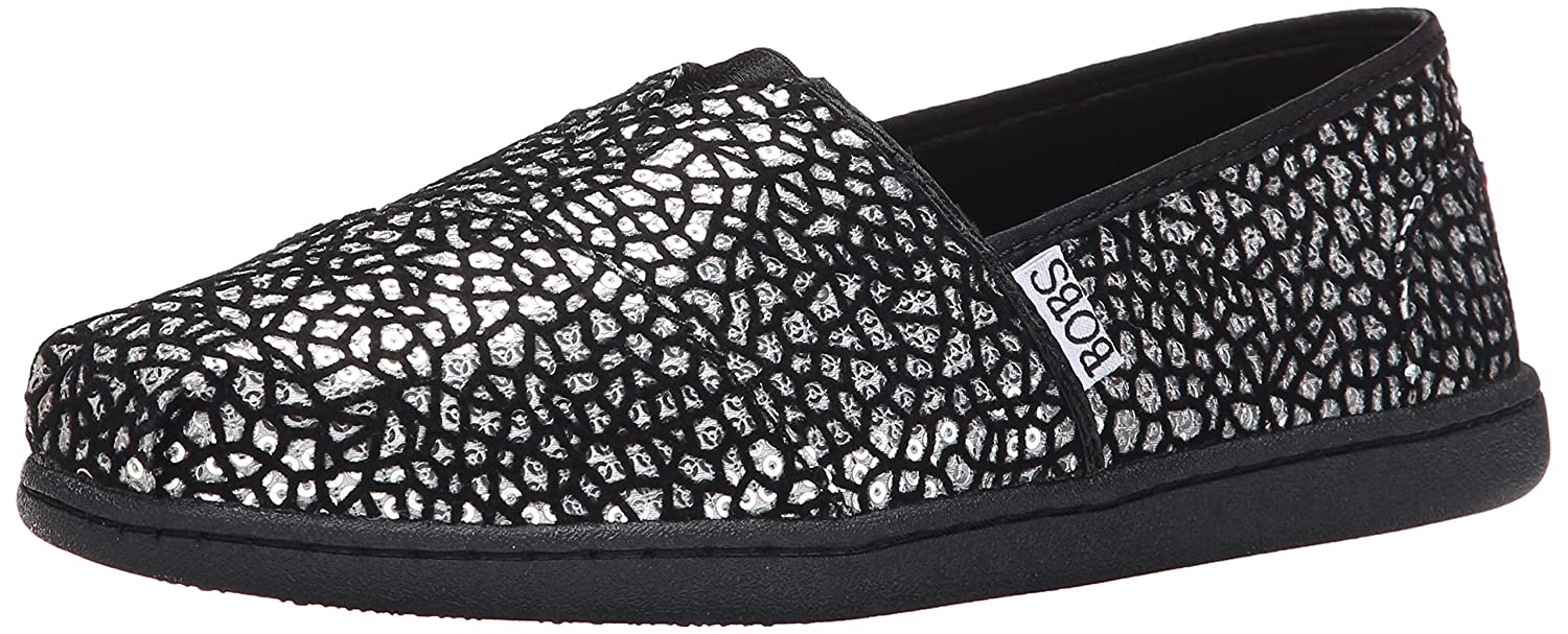 Skechers Bobs Womens Bliss Fashion Slip-On Flat  39 EU|Schwarz/Silber (Black/Silver Sequin)