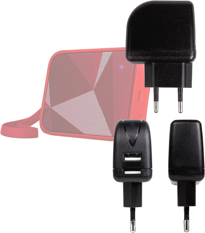 DURAGADGET Cargador con Enchufe Europeo para Altavoz DOSS SoundBox-Mobiler/SoundMini/Philips Pixel Pop BT110 / Shoqbox SB300 / Urbanista Melbourne/Sydney/MTXAudio StreetAudio iP1 - Doble Entrada USB