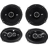 """Package: Pair of Kicker 43DSC69304 6""""x9"""" 360 Watt 3-Way Speakers With 4-Ohm Impedance + Pair of Kicker 43DSC6504 6.5"""" 240 Watt 2-Way Coax Car Stereo Speakers"""