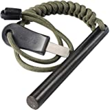 """bayite 4 Inch Survival Ferrocerium Drilled Flint Fire Starter, Ferro Rod Kit with Paracord Landyard Handle and Striker, 4""""(Lo"""