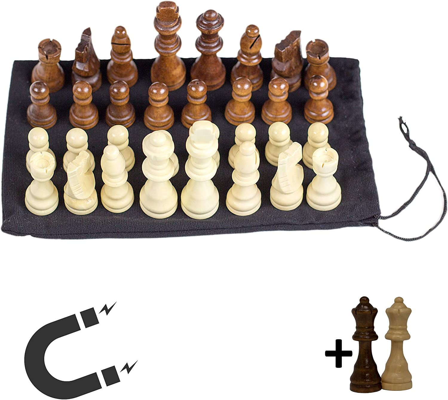 GrowUpSmart Magnetic Chess Pieces, 3 inch King - with Extra Queens