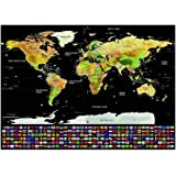 Travel World Scratch Off Map Poster Premium Quality - FREE EBOOK - Map Scratch Off with Flags - Deluxe Scratch Map with Gift Tube Included – Personalised World Map poster - 82.5 x 59.5 cm