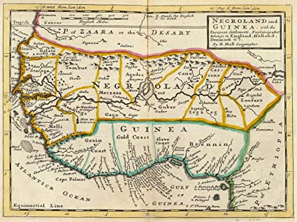 Amazon.com: Historic Map | Negroland and Guinea. 1736, World Atlas