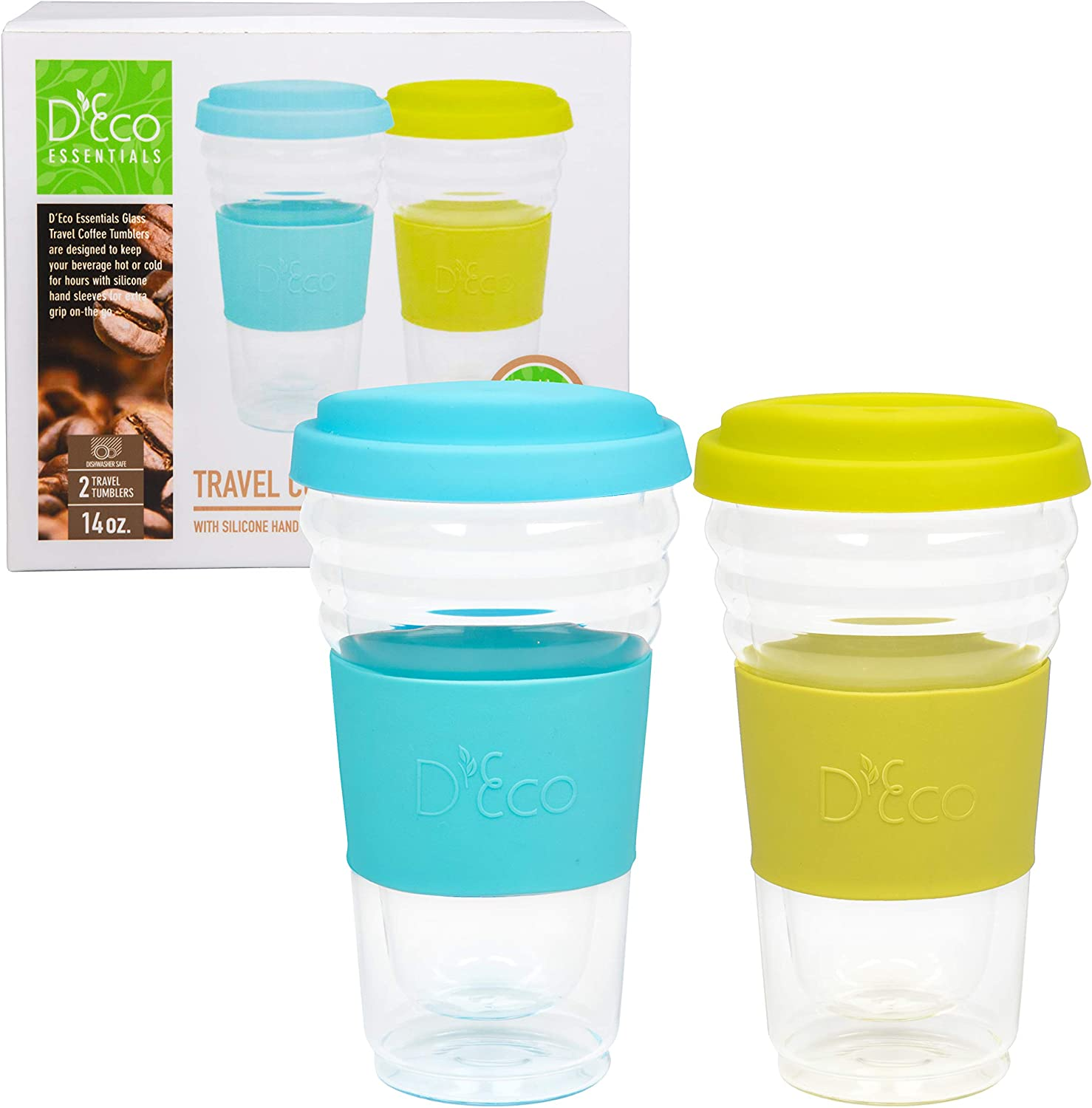 Double Wall Glass Coffee Cup Tumbler with Silicone Lid - Set of 2-14oz Insulated Travel Coffee Mug for Coffee, Tea, Hot & Cold Drinks,