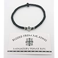 Blessed Greek Christian Orthodox Handmade Prayer Rope from Mt. Athos (Komboskoini Chotki) Thin Black with Black Metalic…