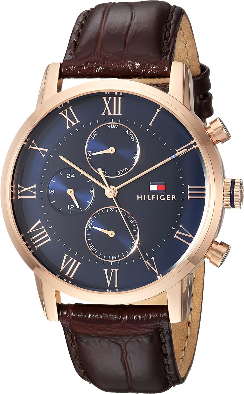Tommy Hilfiger Men's Sophisticated Sport Stainless Steel Quartz Watch with Leather Strap, Brown, 22 (Model: 1791399)