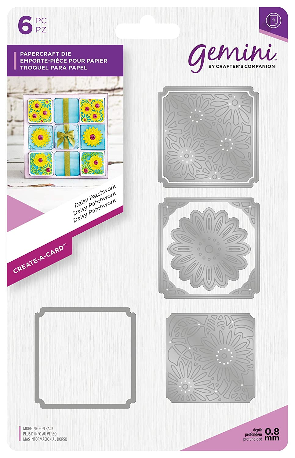 Gemini Die - Create-a-Card - Daisy Patchwork, Silver, Various Crafter's Companion GEM-MD-CAD-DAIP