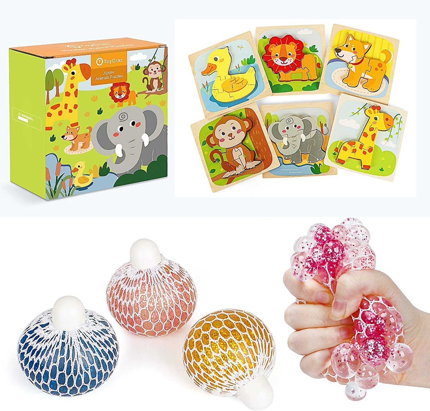 TOYCRAZ Wooden Puzzles for Toddlers & Squishy Stress Balls Toy for Kids Adults Teens