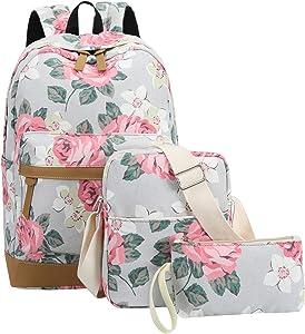School Backpacks for Teen Girls Lightweight Canvas Backpack Bookbags Set (Grey- Flower)