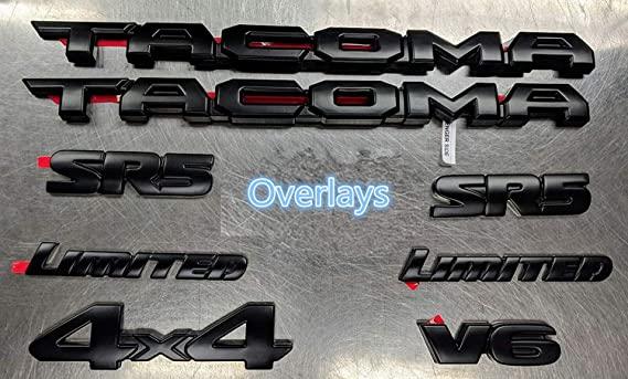 6pcs Overlays Weekeight Fit FOR Tacoma 2016-2019 Blackout Emblem Overlays ABS Plastic PT948-35180-02