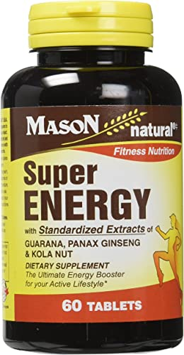 Mason Vitamins Super Energy with Guarana, Panax Ginseng Kola Nut Tablets, 60 Count