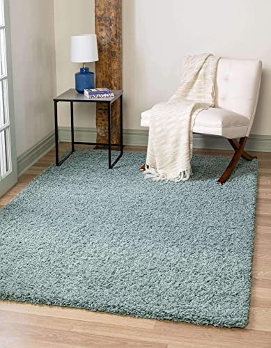 Unique Loom Solo Solid Shag Collection Modern Plush Light Slate Blue Area Rug 8' 0 x 10' 0
