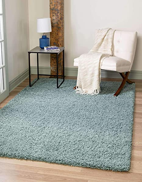 Unique Loom Solo Solid Shag Collection Modern Plush Light Slate Blue Area Rug 8 0 X 10 0 Furniture Decor