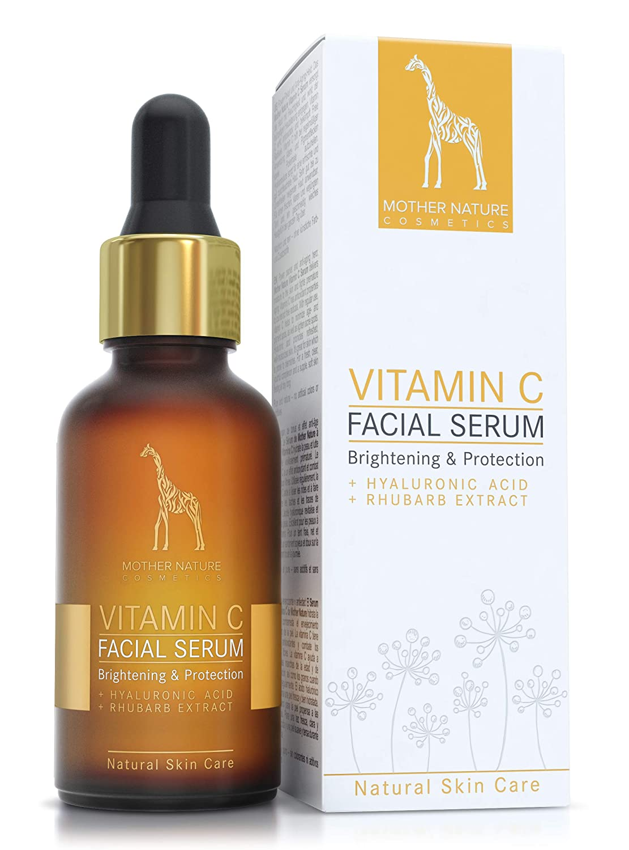 Suero de vitamina C de Mother Nature con ácido hialurónico y extracto de ruibarbo - tratamiento diario revitalizante anti-edad para una piel fresca y joven ...