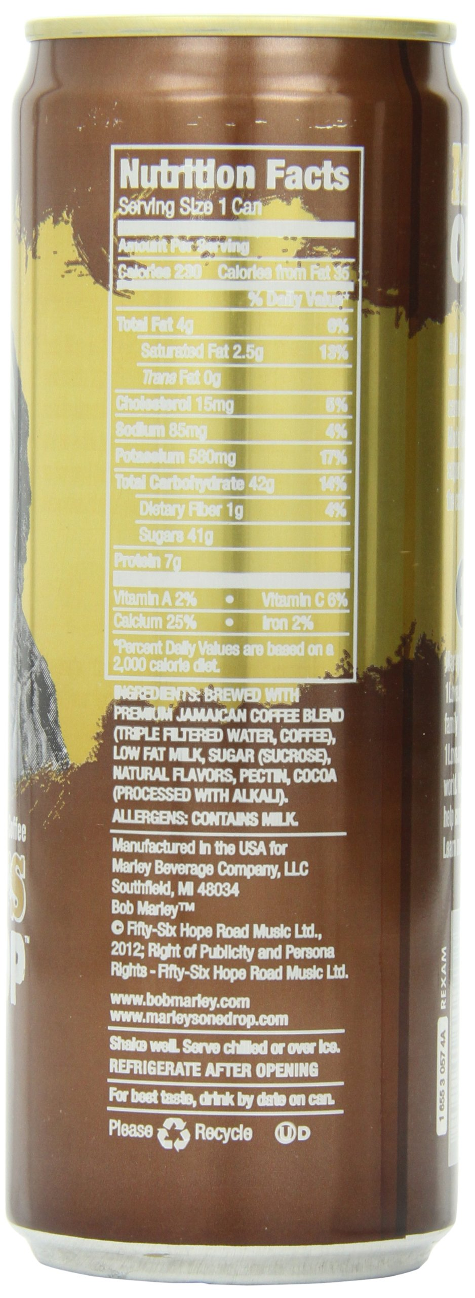 Marley Beverages One Drop Coffee, Mocha, 11 Ounce (Pack of 12)