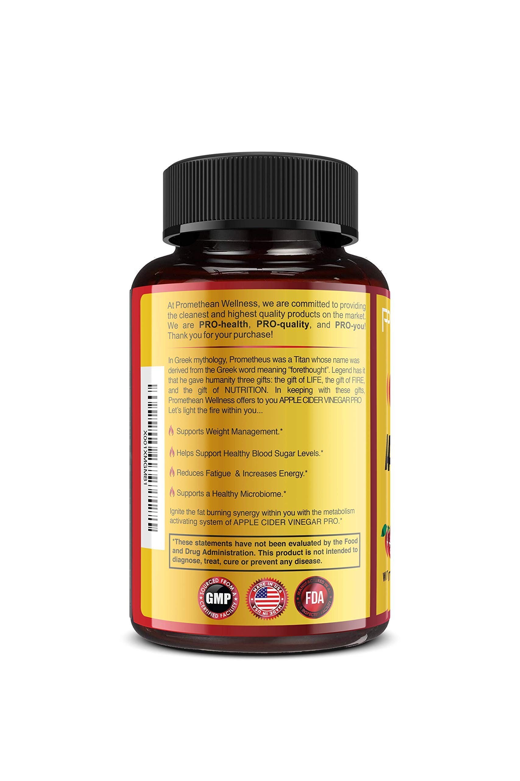 Organic Apple Cider Vinegar Capsules ACV PRO Diet Pills Detox Cleanse for Weight Loss Raw Unfiltered With Mother Powder Supplements Tablets Vitamins Cayenne Pepper Inulin Prebiotics Lemon 1500mg 90 ct by Promethean Wellness LLC (Image #5)