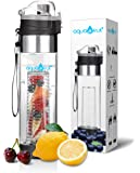 Bottom Loading Fruit Infuser Water Bottle (OneClick Open Lid) - BPA Free Tritan Plastic - Leak Proof - 24oz - Infusion Recipe eBook Included