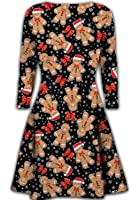 Ladies long sleeve winter Christmas novelty printed party swing dress