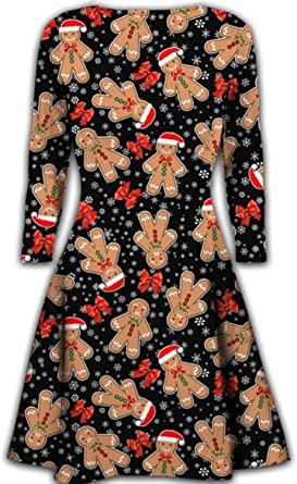 Womens Ladies Chirstmas Snowman Star Bells Printed Xmas Long Sleeve Mini Dress