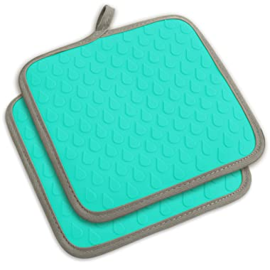 TOPHOME Silicone Oven Mitts and Potholders Dual Use,Texture Non-Slip,waterproof and Heat Resistant Safe Mats for Barbecue,Outdoor BBQ,Cooking, Baking,Blue