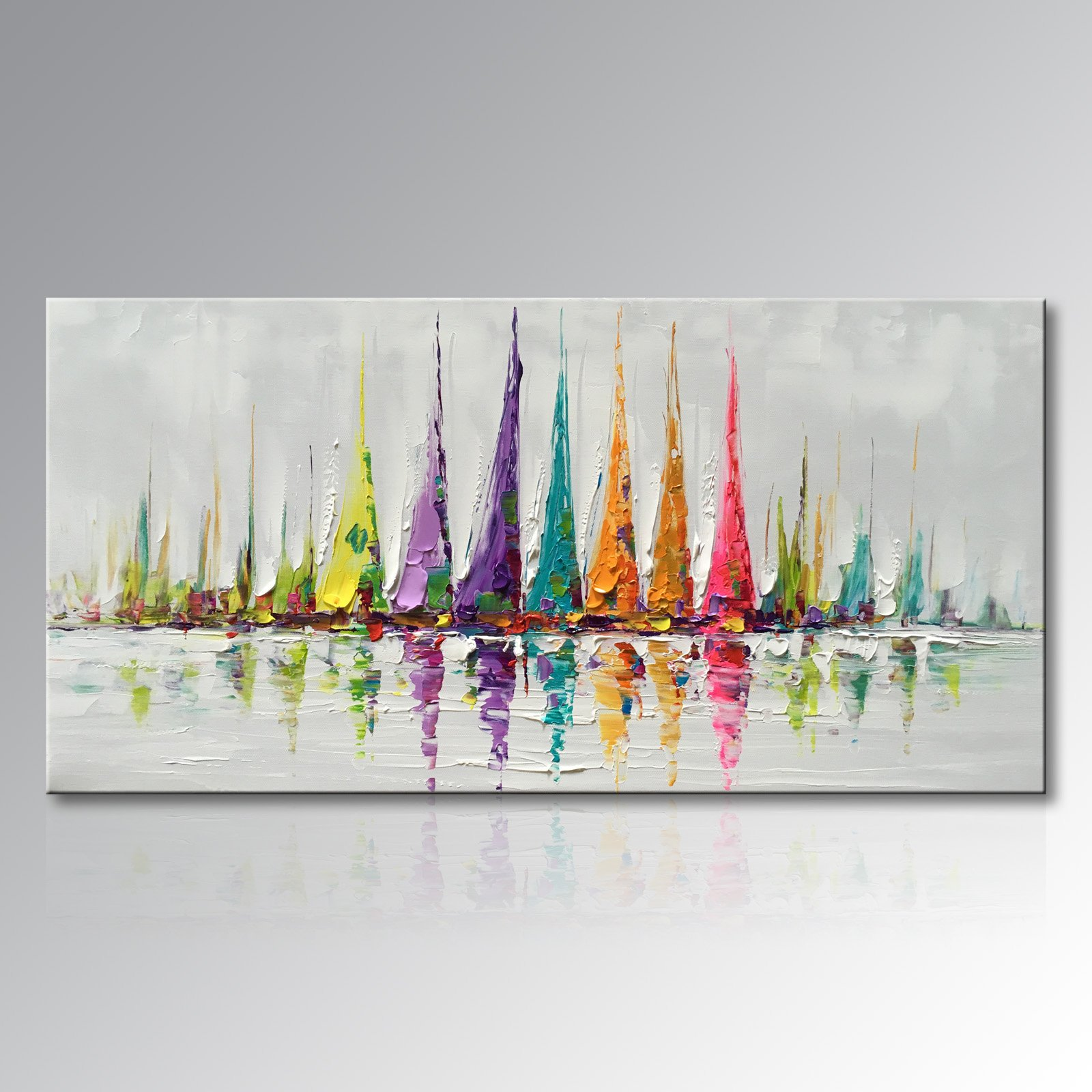 Winpeak Art Hand Painted Large Canvas Wall Art Colorful Sailboat Abstract Oil Painting Modern Decorative Artwork Contemporary Impressionist Artwork Framed Ready to Hang (56''W x 28''H) by Winpeak Art