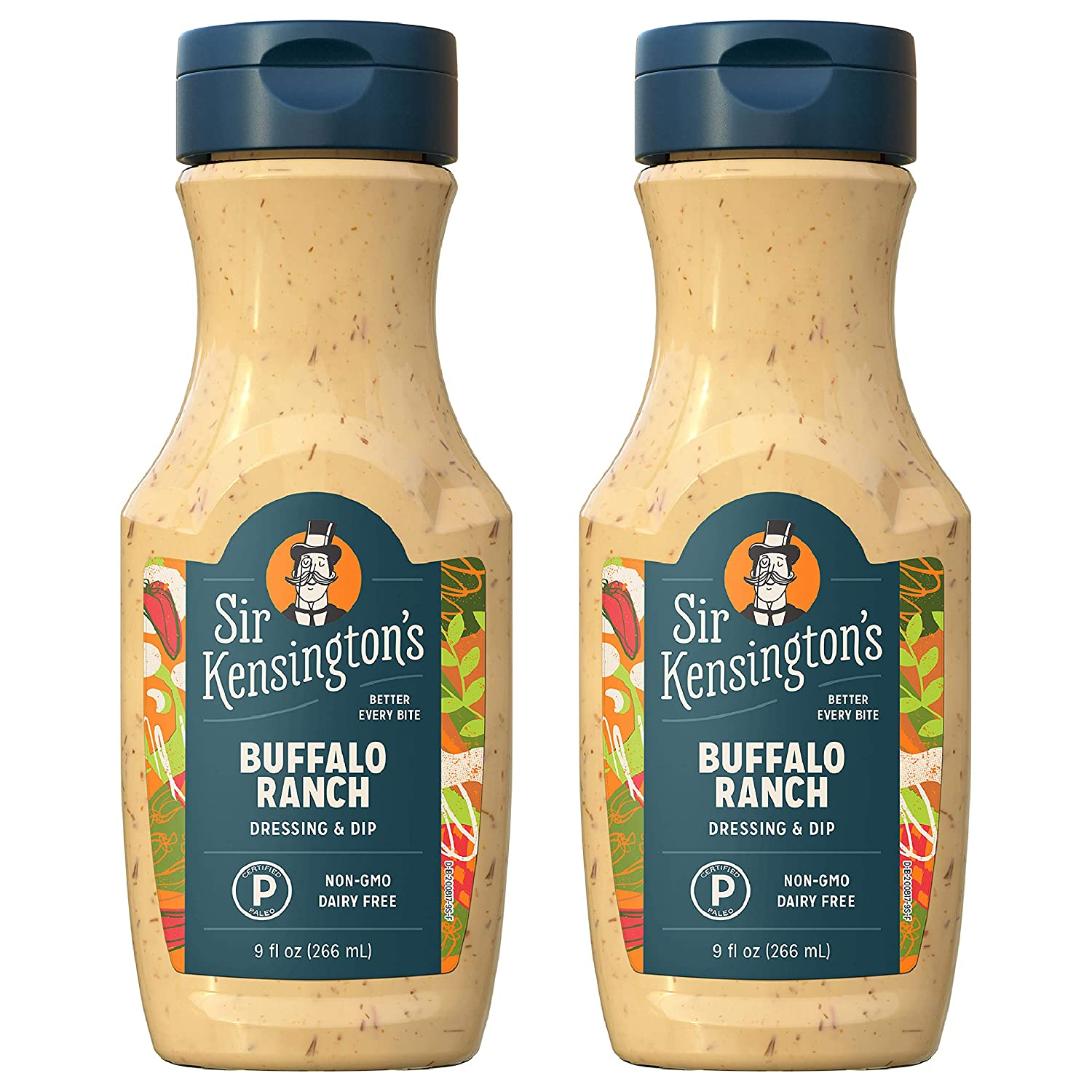 Sir Kensington's Ranch Dressing and Dip, Buffalo Ranch, Sugar Free, Dairy Free, Keto Diet & Paleo Diet Certified, Gluten Free, Non- GMO Project Verified, Shelf-Stable, 9 oz pack of 2